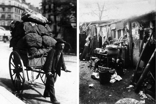 Trapeiro ou catador de lixo e seu barraco, Paris, 1899-1901<br />Fotos Eugène Atget  [Museu d'Orsay]