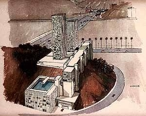 Casa Alta, perspectiva. Arquiteto Sérgio Bernardes