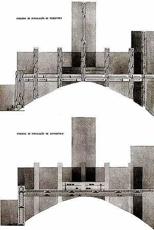 Casa Alta, esquema Circulação B. Arquiteto Sérgio Bernardes