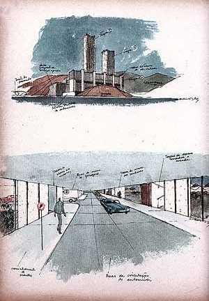 Casa Alta, perspectivas. Arquiteto Sérgio Bernardes