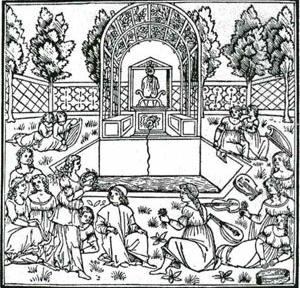 Uma figuração do conceito de giardino segreto (jardim secreto) que ilustrou a obra Hypnerotomachia Poliphili (O sonho de Polifilo), de Francesco Colonna, 1433-1527  [MOSSER, M. ; TEYSSOT, G. The architecture of western gardens. MIT Press, 1991, p. 88]
