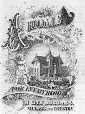 Cartaz publicitário americano, veículo da ideologia do subúrbio-jardim e da casa unifamiliar implantada em meio a uma área verde como requisitos para a felicidade