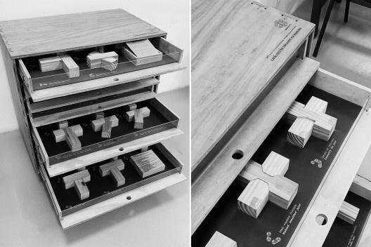 Detalhes da Materioteca finalizada<br />Foto Isabella Simões  [Acervo Fabricação, tectônica e projeto: catálogo de encaixes em madeira]