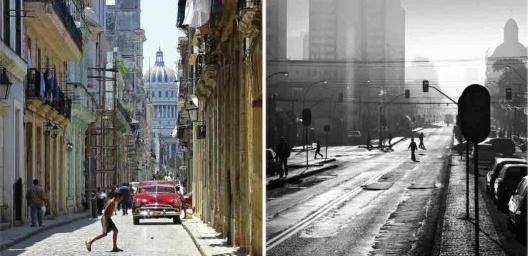 """À esquerda, Havana; à direita, Curitiba<br />Fotos Héctor Falcón Rodriguez e Marta Escotet  [livro """"Conquistar a Rua! Compartilhar sem Dividir""""]"""
