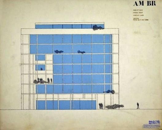 Embaixada da França, Chancelaria, corte, Brasília, 1962-1964, arquiteto Le Corbusier<br />Imagem divulgação  [Fondation Le Corbusier]