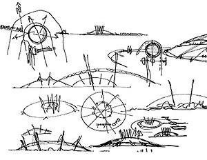 Croqui de estudo para o Millennium Dome. Richard Rogers