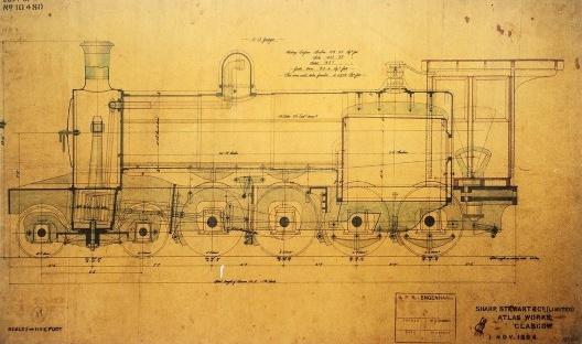 Projeto de locomotiva Sharp Stewart 4-8-0, da Atlas Workss Glasgow, 1894 [RFFSA / In MAZZOCO, Maria Inês; SANTOS, Cecília Rodrigues dos]