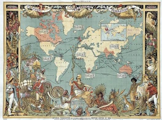 """""""Imperial Federation, map of the world showing the extent of the British Empire in 1886"""", mapa de John Charles Ready Colomb, um capitão da marinha britânica<br />Imagem divulgação  [Acervo Biblioteca Biblioteca Pública de Boston]"""