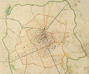 <br />Planta mostrando as avenidas projetadas pelo plano de urbanização de Curitiba – Plano Agac  [IPPUC]