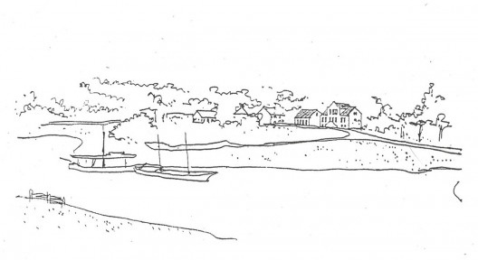 """Desenho de Hans Broos do trapiche de desembarque dos colonos, na Zona Histórica de Blumenau, que ele chamava de """"alma da cidade"""" [Arquivo Hans Broos]"""