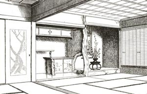 Fig. 6 – Sala de visitas em Hachi-Ishi [Fonte: MORSE, Edward S. Japanese homes and their surroundings. Boston: University Press, 1]