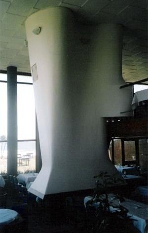Detalhe da lareira do restaurante<br />Foto do autor