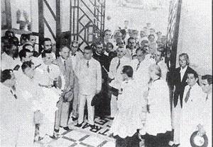 """Cerimônia de inauguração do """"Central Hotel"""" (1938), com as bênçãos do arcebispo de Belém [Acervo Claudio La Rocque]"""