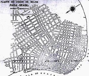 """Belém em 1939 com indicação do eixo da Avenida 15 de Agosto [""""Folha do Norte"""" – 1939]"""