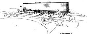 Ministério Educação e Saúde, versão beira mar Desenho de Le Corbusier [Affonso Eduardo Reidy, Instituto PM Bardi, p. 54]