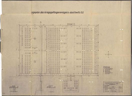 Cópia heliográfica do campo de concentração Birkenau, de outubro de 1941. Desenho de Alfred Przibelski, prisioneiro polonês nº 471<br />Iad Vashem Archives  [Site de divulgação da exposição]