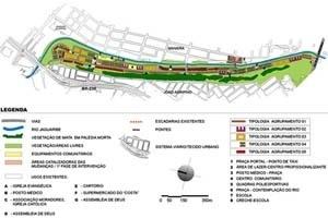 Mapa Temático – Plano urbanístico. Planejamento multisetorial norteou a proposta. O contato direto com o Rio Jaguaribe foi outro fator determinante nas intenções projetuais