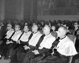 Professores Catedráticos da EA-UFMG. <br />Foto-Documentação Sylvio de Vasconcellos, década de 1950