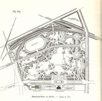 Parque Humboldthain em Berlim. Projeto de Gustav Meyer, 1865 [STÜBBEN. 1890]
