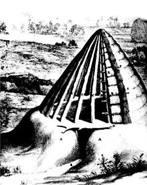 Cabana primitiva, reconstruídas por Claude Perrault a partir da descrição de Vitruvius