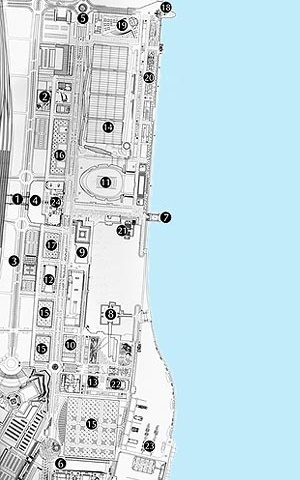 Implantação da Exposição Internacional de Lisboa, 1998 junto ao Rio Tejo. Legenda: 1 – Estação Oriente; 2 – Edifício Administrativo; 3 – Porta VIP; 4 – Porta do Sol; 5 – Porta do Norte; 6 – Porta do Mar; 7 – Porta do Tejo; 8 – Oceanário; 9 – Pavilhão de P<br />Foto do autor