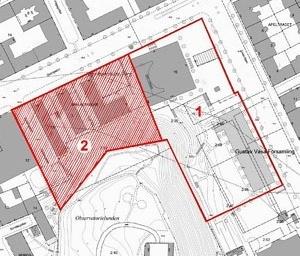 Vista aérea, área do concurso: em 1, área preservada, apenas para intervenções paisagísticas. Em 2, área dos anexos e reservada para propostas de ampliação