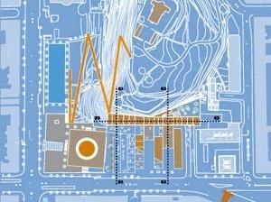 Implantação proposta para o conjunto: conexões com o Observatório e corte em diagonal dos anexos liberando visuais para o edifício histórico
