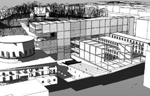 """Conjunto Híbrido: ampliações e intervenções em """"malha estrutural"""" aparente em contraposição aos """"volumes"""" dos edifícios históricos. Ao fundo, Observatório no alto da colina"""
