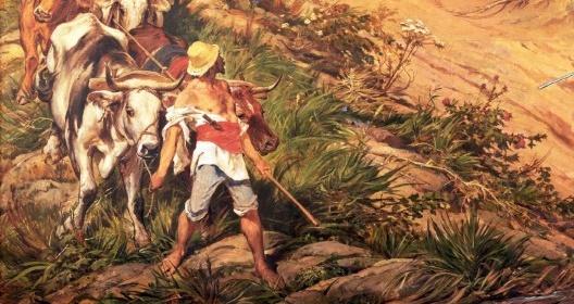 """No canto esquerdo inferior da pintura, um trabalhador branco conduz carro de bois transportando toros de madeira. Pedro Américo, """"Independência ou Morte"""" (detalhe), 1888<br />Imagem divulgação  [Museu Paulista da USP]"""
