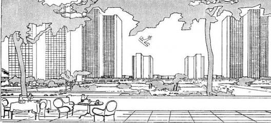 """""""Nós, homens, estamos sob as folhagens"""". Fachada principal do edifício da Secretaria, Palácio das Nações, Genebra e une ville contemporaine, Le Corbusier, 1922"""