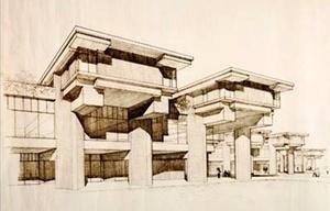 Universidade de Massachusetts Dartmouth, 1963, perspectiva do edifício