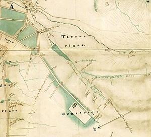Detalhe do Mappa da Imperial Cidade de São Paulo, de Carlos Rath, 1855, com a localização do proposto Cemitério Municipal da Consolação, que seria inaugurado somente em 1868