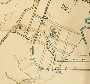 Detalhe do Mappa de Carlos Rath de 1868, com a localização do parcelamento dos terrenos da Santa Casa