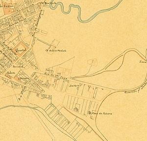 Detalhe do mapa da cidade de São Paulo, de 1844-1847, de Carlos Abraão Bresser, mostrando a região da Glória. Neste mapa percebe-se que a gleba pertencente à Santa Casa da Misericórdia, a oeste da Rua da Glória, ainda não estava urbanizada