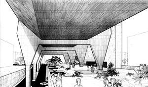 """Praça """"pública"""" com paisagismo de Burle Marx no térreo, """"meio-nível"""" acima da Avenida Paulista. Na maquete, vemos a proposta original de duas linhas de apoios laterais com grande vazio central. Posteriormente, novos cálculos durante a obra indicaram a nec [ANELLI, Renato; GUERRA, Abilio; KON, Nelson. Op. cit.]"""