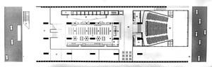 Pavimento inferior : hall de elevadores, Biblioteca e acesso ao Teatro. Nota-se o passeio da Avenida Paulista alargado e a terceira linha de apoios no centro [ARTIGAS, Rosa, op. cit]