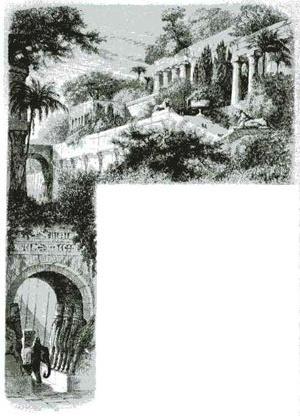 """""""Os jardins suspensos da Babilônia"""" em ilustração de D. Lancelot, publicada em História dos jardins, de Arthur Mangin, 1883 [KING, Ronald. The quest for paradise: a history of the world's gardens. NY, Mayfowe, p. 23]"""