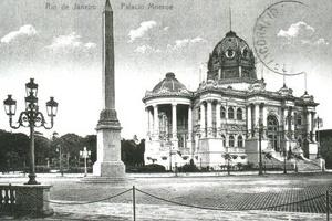 Cartão postal com Palácio Monroe, Rio de Janeiro [Website Café História]