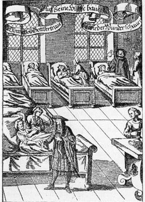 A prática da medicina em espaço não especializado (J. Ch. Thiemen, Haus-, Feld-, Koch-, Kunst-, etc Buch; Nürnberg 1682) [Wikimedia Commons; Disponível em: <commons.wikimedia.org> Acesso em 29 de set. 2007]
