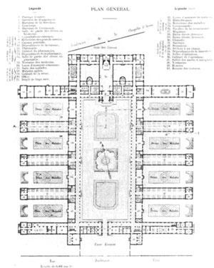 Planta do Hospital Lariboisière, em Paris; projeto de Gauthier de 1839 – estrutura espacial compartimentada e especializada [Assitance Publique Hôspitaux de Paris; Disponível em: <www.aphp.fr/site/diaporamas/archite]