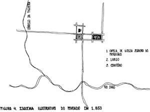 Figura 03 - O arruamento original da freguesia de Nossa Senhora do Patrocínio do Jahu. Iniciado na década de 1850 e transformado a partir da década de 1870 [desenho do autor]