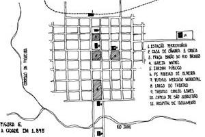 Figura 04 - Planta da cidade em 1895. Observar o eixo efetivando-se enquanto elemento organizador do espaço urbano, e as novas edificações dando um novo caráter à cidade [desenho do autor]