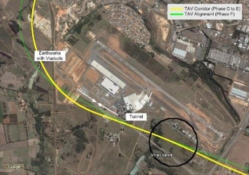 Vista espacial da localização da estação de Viracopos [www.tavbrasil.gov.br]