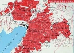 Imagen 1: Ciudad de Santiago de Cuba en la actualidad, donde se observa, hacia el Noreste, el reparto Vista Alegre