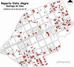 Imagen 2: Localización de las edificaciones del Movimiento Moderno, construidas en los años cincuenta, concentradas hacia las zonas periféricas Este y Sur del barrio