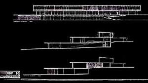 Cortes e fachada da casa Francisco Pignatari, 1954 [Escritório Roberto Burle Marx]