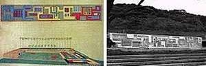À esquerda, desenhos dos jardins laterais da casa e painel [Arquivos Escritório Roberto Burle Marx. À direita, painel e jardins]