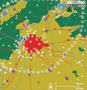 Gráfico com cenário possível de Beijing, palestra de Richard Forman [http://ecologicalurbanism.gsd.harvard.edu/]