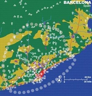 Gráfico com cenário possível de Barcelona, palestra de Richard Forman [http://ecologicalurbanism.gsd.harvard.edu/]