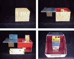 Série de maquetes realizadas por alunos de Zeuler Lima para um projeto de biblioteca